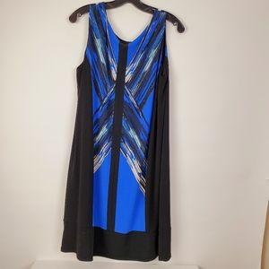 Alfani Woman 1X Womens Blue Black Sleeveless